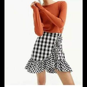 J. Crew black/white check ruffle faux wrap skirt